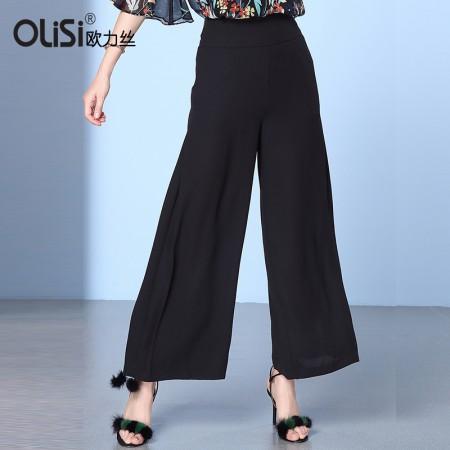 欧力丝OLISI女装时尚个性修身气质喇叭裤·黑色