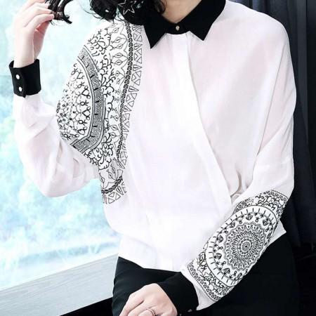 多多的世界欧美重工刺绣长袖宽松不规则衬衫3506·白色