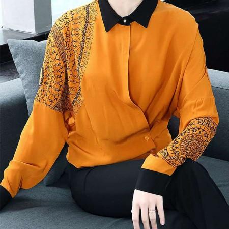 多多的世界欧美重工刺绣长袖宽松不规则衬衫3506·黄色
