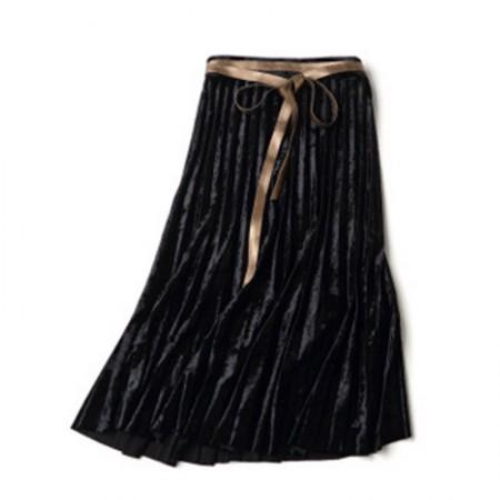 多多的世界 金丝绒系带百褶半身裙3103·黑色