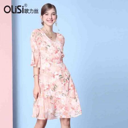 OLISI欧力丝女装V领荷叶袖A摆绑带印花连衣裙植物花卉WL506F3586·橙