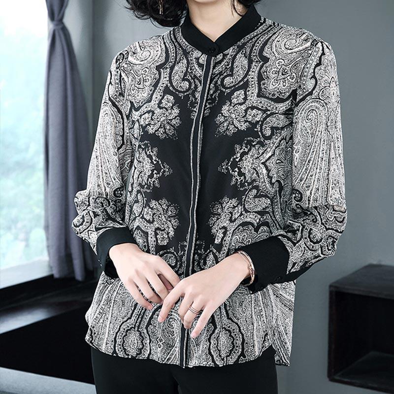 多多的世界欧美长袖单排扣桑蚕丝上衣3513·黑色