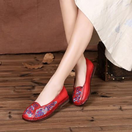 2018春夏手工头层牛皮中国风刺绣舒适牛筋底平底鞋(建议拍小一码)812 ·红色
