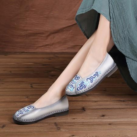 2018春夏手工头层牛皮中国风刺绣舒适牛筋底平底鞋(建议拍小一码)812·蓝色