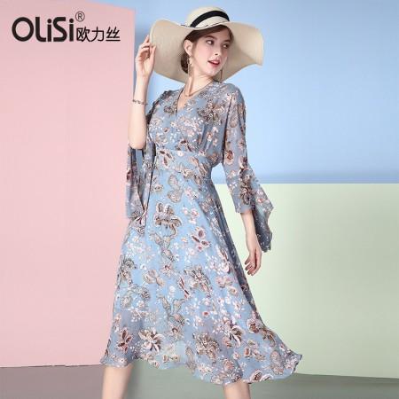浪漫女人V领气质连衣裙·蓝/多色