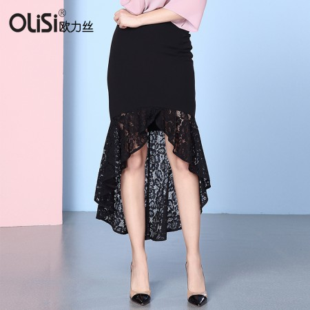 欧力丝OLISI女装名媛气质下摆不规则包臀半身裙·黑色