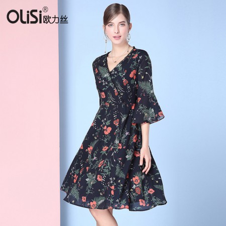 欧力丝OLISI女装V领斜门襟荷叶边A摆印花连衣裙·黑/多色