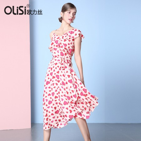 欧力丝女装甜美斜肩吊带绑带不规则A摆印花爱心连衣裙·红/多色