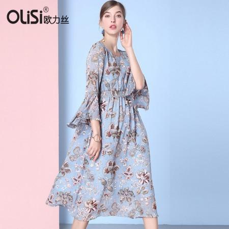 欧力丝时尚圆领修身显瘦浪漫连衣裙·蓝/多色