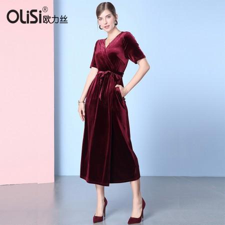 欧力丝OLISI女装名媛气质收腰显瘦V领丝绒裙·酒红色