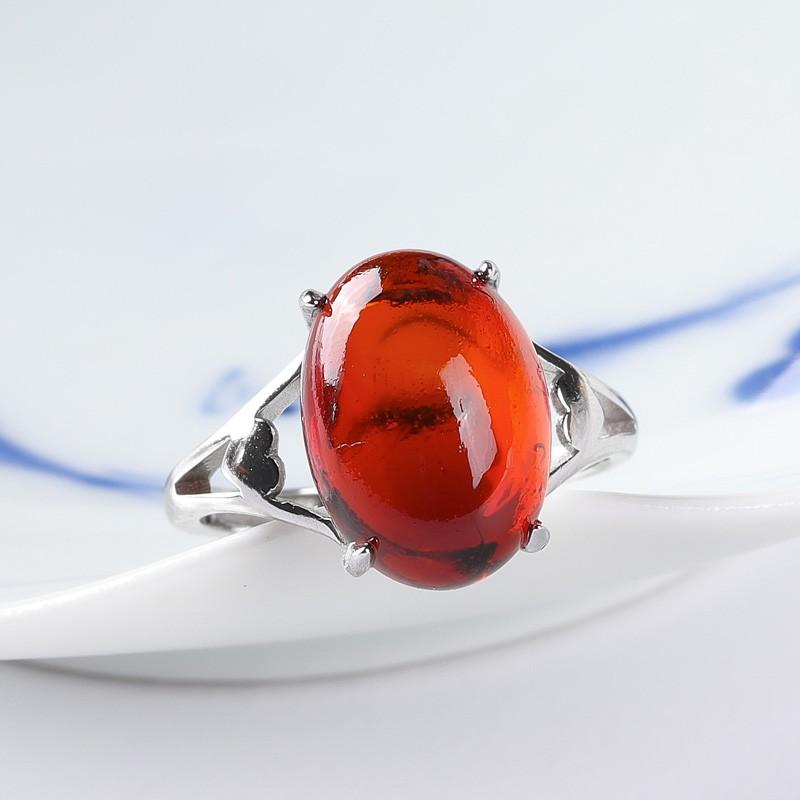 满记血珀净水樱桃红收藏级时尚款戒指925银戒托活口