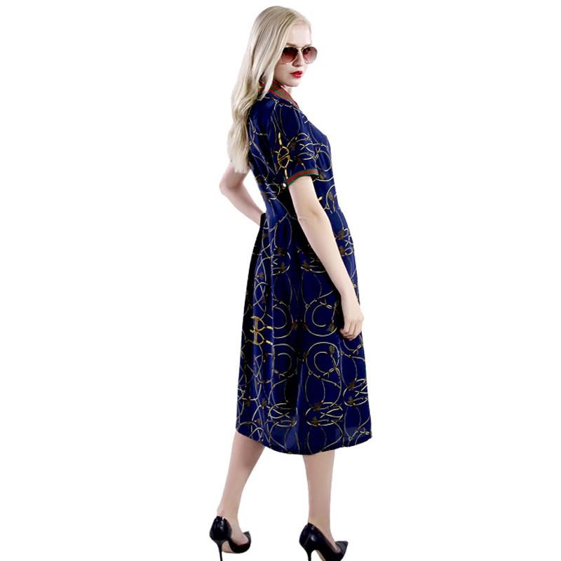 今昇时尚雅致真丝长裙·深蓝色