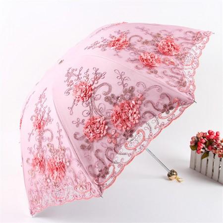 欧若拉 立体绣花蕾丝双层遮阳伞(加赠全自动晴雨伞)·粉红色~