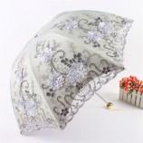 欧若拉 立体绣花蕾丝双层遮阳伞(加赠全自动晴雨伞)·蓝灰色