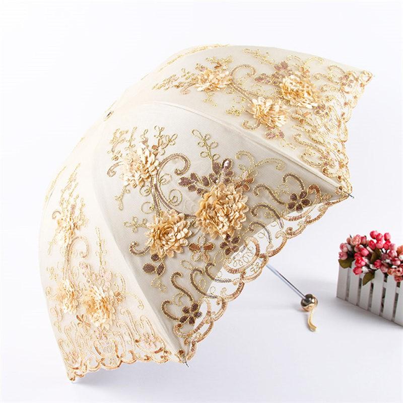 欧若拉 立体绣花蕾丝双层遮阳伞(加赠全自动晴雨伞)·绿/多色