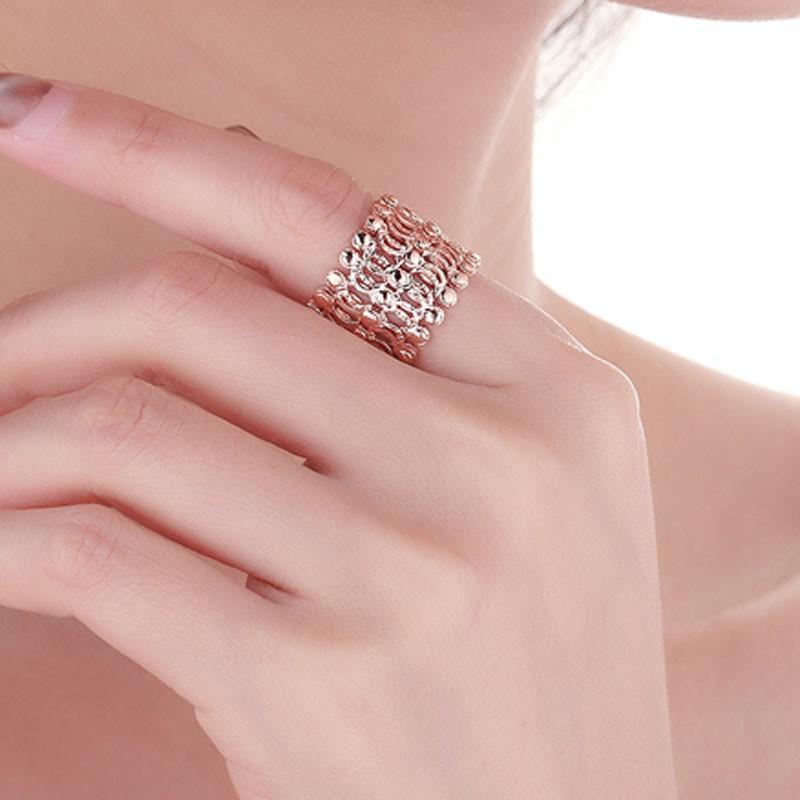 老冯记18K玫瑰金魔戒指-收缩戒指变手镯可调节