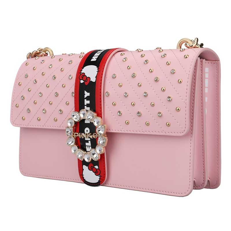 PINKO 女士单肩斜跨链条包燕子包  1P214G Y4HC·粉色