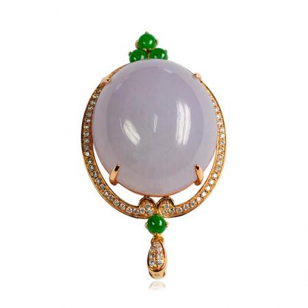 工美珠宝玫瑰金镶翡翠蛋面吊坠