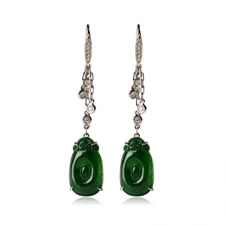 工美珠宝18K金白色镶钻绿圆满耳钉