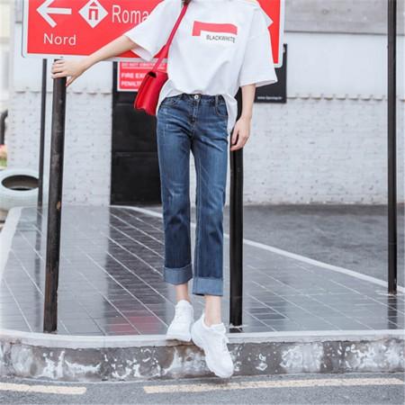 Blue&Joe春夏可翻裤脚毛边时尚牛仔裤·深蓝色