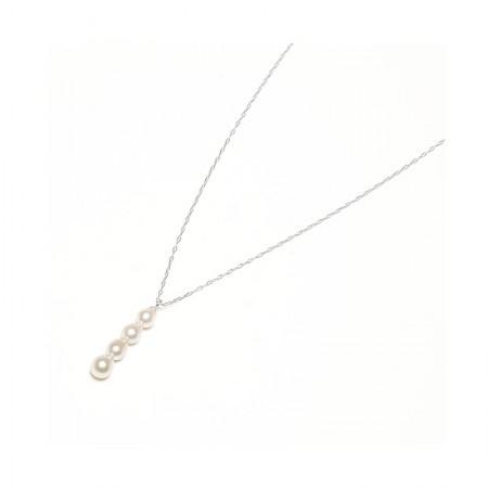 Vermeer 14K白金AKOYA海水珍珠四珠项链3.5-4mm·珍珠颜色:白