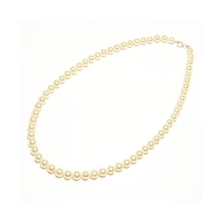 Vermeer 14K金AKOYA海水珍珠全珠项链6mm·珍珠颜色:金色