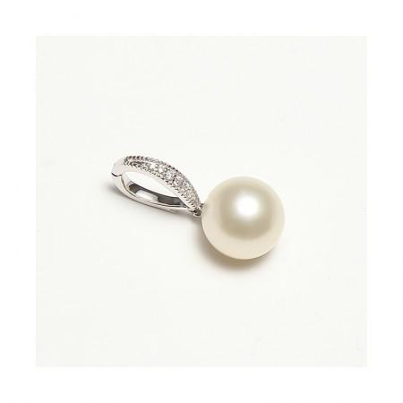 Vermeer 18K白金+真钻南洋白珍珠吊坠12-13mm·珍珠颜色:白色