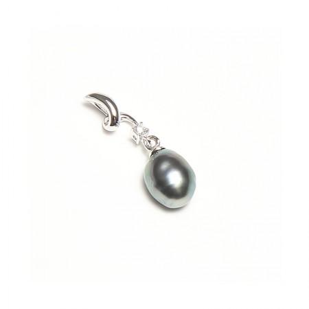 Vermeer 18K白金+钻石无核大溪地海水珍珠单颗吊坠7mm·黑色