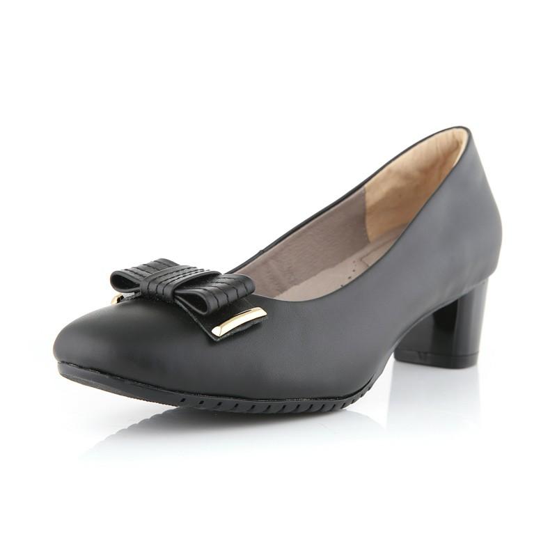 诺曼地典雅牛皮跟鞋·黑色