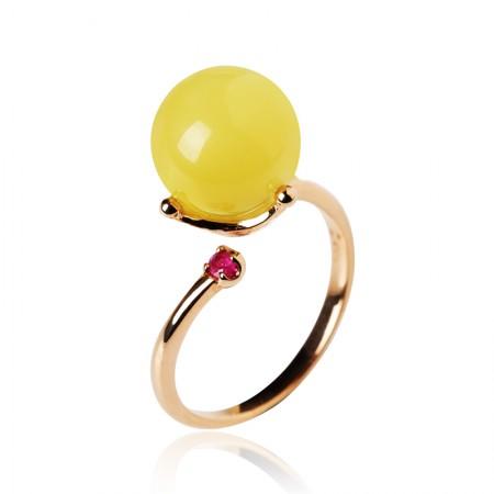 曼丽翠18k玫瑰金镶钻蜜蜡圆珠戒指活口