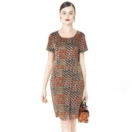 蚕之声 重磅真丝时尚气质印花中长裙8183·花色