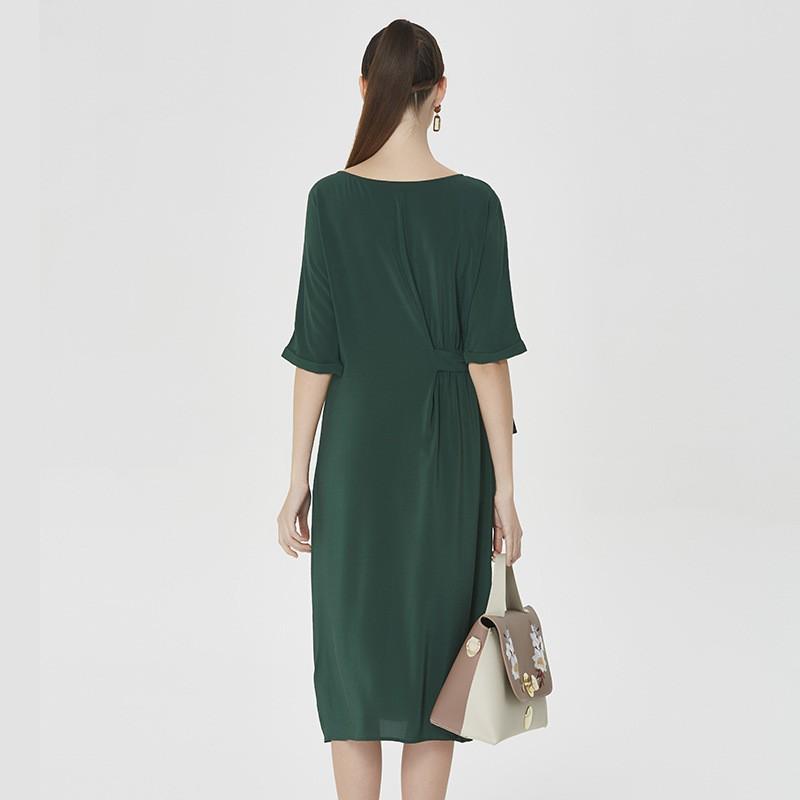 蚕之声 100桑蚕丝纯色系带开叉气质长裙 8070·绿色