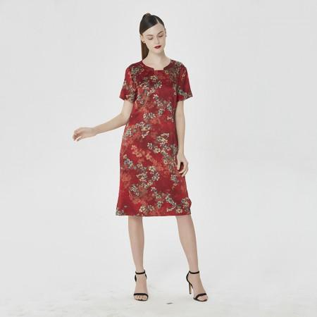 蚕之声 高端重磅桑蚕丝优雅气质印花旗袍中长裙8168·印花