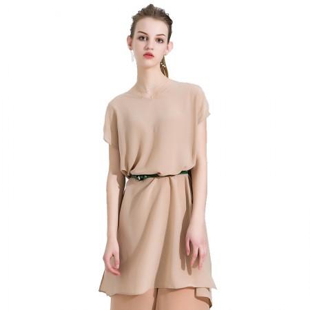 今升 性感V领无袖纯色真丝连衣裙·杏色