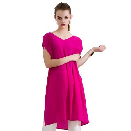 今升 性感V领无袖纯色真丝连衣裙·玫红
