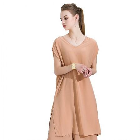 今升 性感V领无袖纯色真丝连衣裙·卡其色