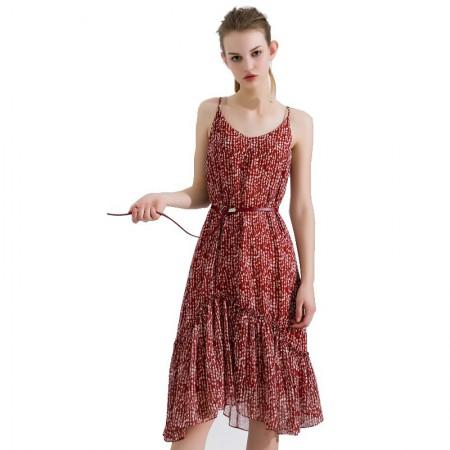 今升 性感V领碎花荷叶裙摆吊带连衣裙·砖红白点