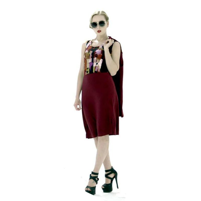 Femfey时尚印花开衫套裙·玫瑰茜红色