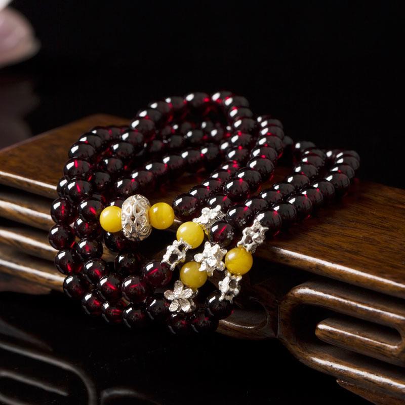 曼丽翠石榴石6mm*108颗佛珠多圈手链