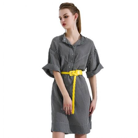 今升 立领五分袖细格纹宽松衬衫裙·黑白小格