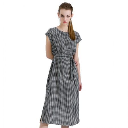 今升 时尚圆领经典细格纹无袖系带连衣裙·黑白小格