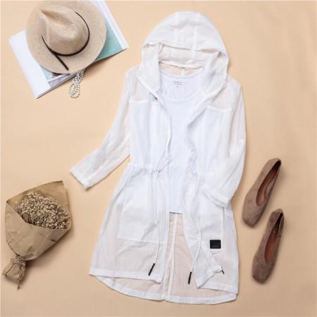 夏日连帽收腰中长款防晒衣 (200斤可穿)7色多功能外套·白色