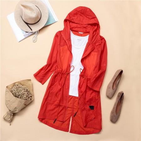 夏日连帽收腰中长款防晒衣 (200斤可穿)7色多功能外套·橘色