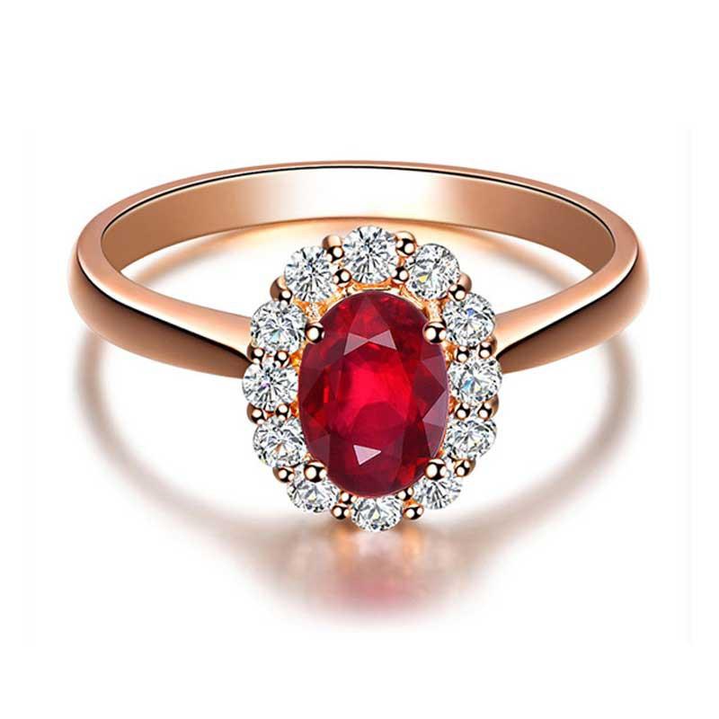 梦·梵雅 18K金镶嵌红宝石钻石戒指