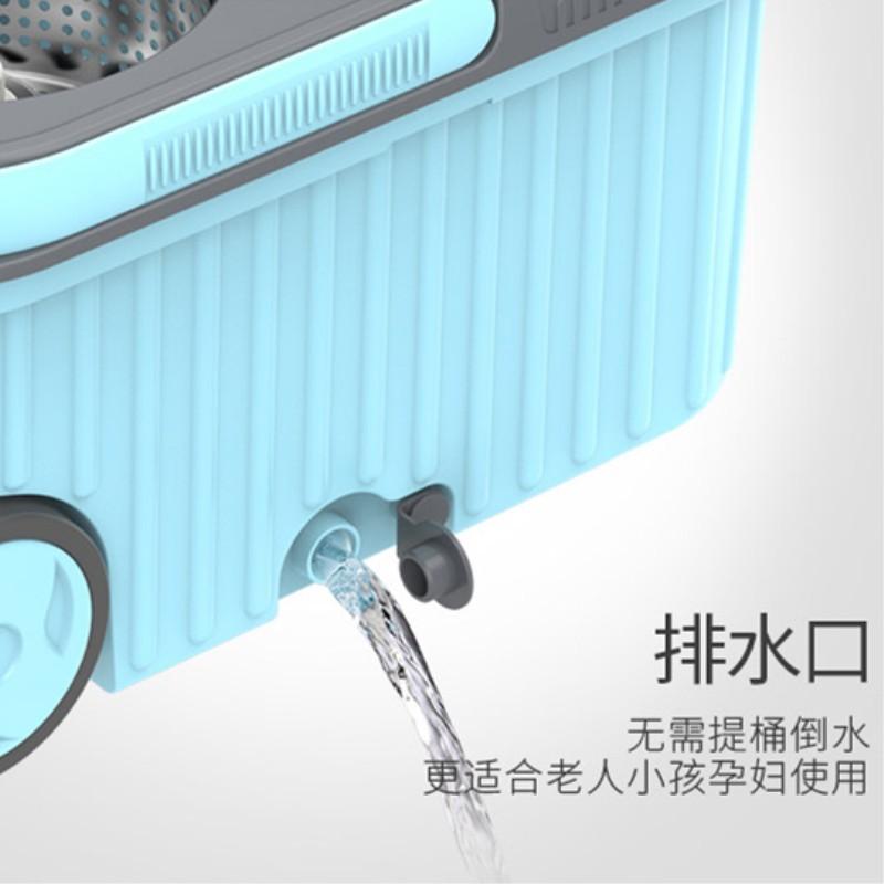 吉优百 可伸缩免手洗双驱动旋转拖把桶组合·淡蓝色