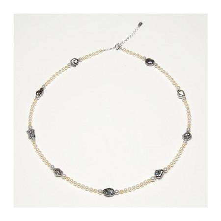Vermeer 18K金无核大溪地黑珍珠配异形akoya项链·黑色/白色