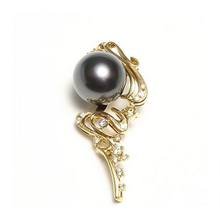 Vermeer 18K金+钻石大溪地海水黑珍珠豪华吊坠12-13mm·黑色