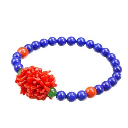 映时红珊瑚毛毛虫搭青金石手链