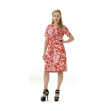 Femfey优雅时尚印花连衣裙·澳木红色