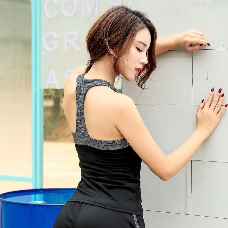 夢倪撻高弹力舒适无痕一体式运动背心2件组·灰色+玫红